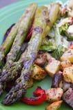 在板材特写镜头芦笋和葱土豆的烤菜 库存照片
