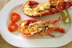 在板材的Ð ¡煮熟的龙虾 免版税库存图片