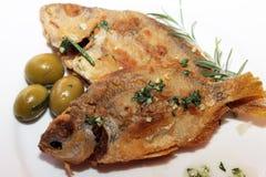 在板材的两条被烘烤的鱼 免版税库存照片
