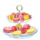 在板材的五颜六色的淡色蛋糕macaron为党服务 免版税库存图片