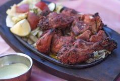 在板材的传统印地安食物鸡tandori 免版税库存图片