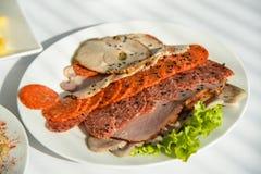在板材的冷盘开胃菜 免版税图库摄影