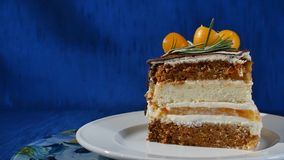 在板材的可口巧克力蛋糕在深蓝背景的桌上 巧克力蛋糕片断与香草奶油的 下落 库存图片