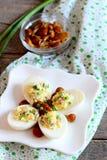 在板材的可口deviled鸡蛋 煮沸的鸡蛋充塞用搓碎干酪、用卤汁泡的蘑菇和新鲜的葱 免版税库存图片