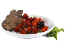 在板材的各种各样的莓果 免版税库存图片