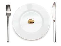 在板材的唯一淡菜 免版税图库摄影