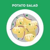 在板材的土豆沙拉 与菜的鲜美盘 向量例证