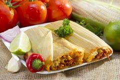 在板材的墨西哥玉米粽子。 库存图片