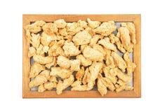 在板材的大豆粒子 免版税库存图片