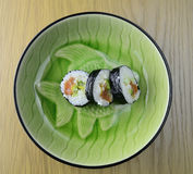 在板材的寿司,特写镜头视图 库存照片