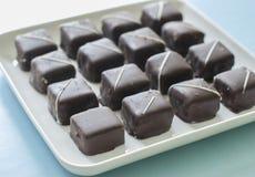 在板材的巧克力糖甜点 免版税库存照片