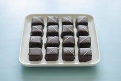 在板材的巧克力糖甜点 库存照片