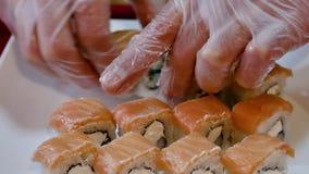 在板材的新寿司传播 股票视频