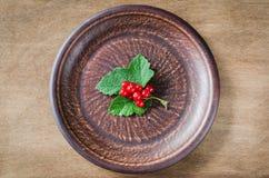 在板材的新鲜的成熟有机红浆果 免版税库存照片