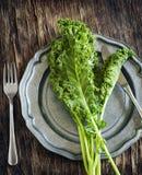 在板材的新鲜的绿色无头甘蓝 概念吃健康 库存照片