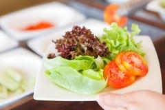 在板材的新鲜蔬菜沙拉 免版税库存图片