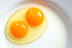 在板材的未加工的两卵黄质鸡蛋 免版税库存照片