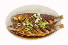 在板材的油煎的鱼,隔绝在白色背景 库存图片