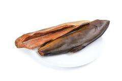 在板材的熏制的桃红色三文鱼 免版税图库摄影