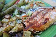 在板材的特写镜头烤了菜和三文鱼内圆角芦笋和葱土豆 库存照片