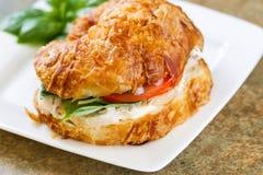 在板材的立即可食的鸡丁沙拉三明治 图库摄影