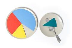 在板材的纸圆形统计图表 免版税库存照片