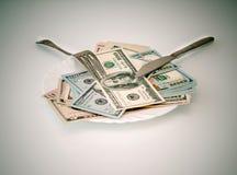 在板材的美国货币 免版税图库摄影