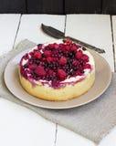 在板材的莓果饼 图库摄影