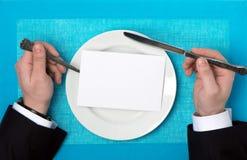 在板材的菜单 免版税库存图片