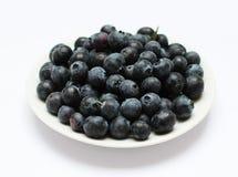 在板材的蓝莓 库存照片