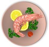 在板材的虾服务与菜 免版税图库摄影