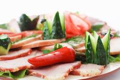 在板材的被分类的肉 免版税库存照片