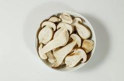 在板材的被切的牛肝菌蕈类可食国王牛肝菌 免版税库存照片