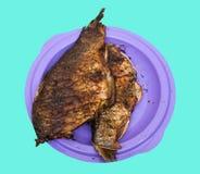 在板材的被烘烤的鱼 图库摄影