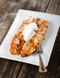 在板材的辣酱玉米饼馅-墨西哥食物 免版税库存照片
