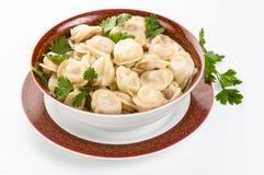 在板材的饺子 免版税库存图片