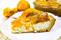 在板材的饼用凝乳和柿子在餐巾硅树脂和蟒蛇 库存图片