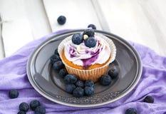 在板材的鲜美蓝莓杯形蛋糕 库存照片