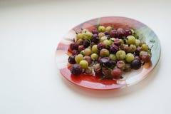 在板材的鹅莓 库存照片