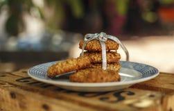 在板材的麦甜饼 免版税库存图片