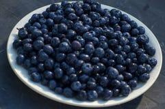 在板材的黑暗的蓝莓 库存照片