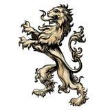 在板刻样式画的纹章狮子 免版税库存照片