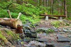 在林业露天博物馆的小瀑布在Vydrovo 库存图片