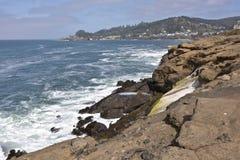 在林肯城俄勒冈附近的俄勒冈海岸 免版税库存照片