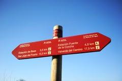 在林荫道路Los莫利诺斯del Agua的方向标在瓦尔韦德del Camino,韦尔瓦省,西班牙省  库存图片