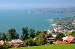 在林道的壮观的美丽如画的看法湖的Bodensee,德国 库存照片