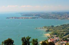 在林道的壮观的美丽如画的看法湖的Bodensee,德国 库存图片