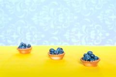 在果子馅饼的莓果在黄色背景 库存图片