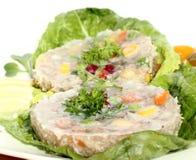 在果冻的肉快餐 免版税库存照片