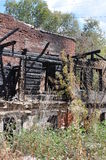 在枝杈的火废墟 免版税库存图片